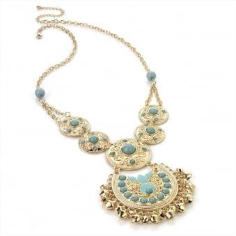 Aqua Beads Gold Bells Necklace