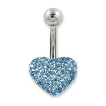 Aqua Heart Crystal Belly Bar