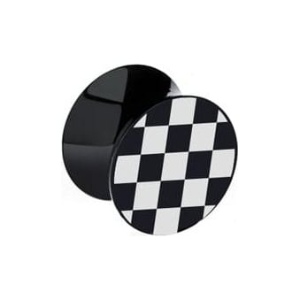 Black & White Chequered Ear Plug