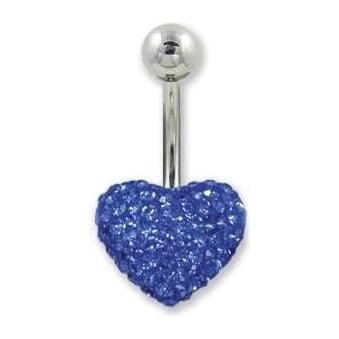 Blue Heart Crystal Belly Bar