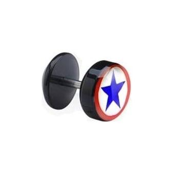 Blue Star Acrylic Fake Ear Plug