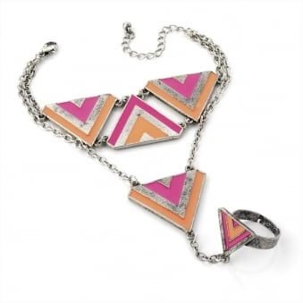 Burnished Silver Effect Pink Aztec Wrist & Ring Chain