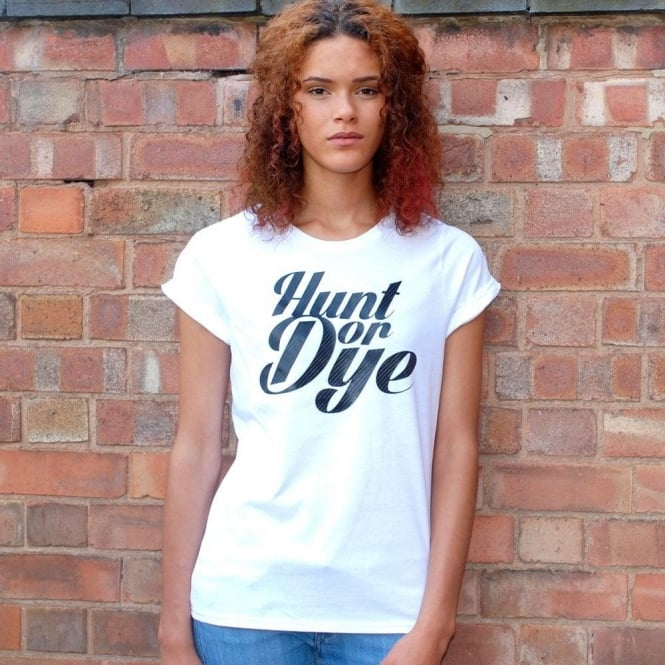 Hunt Or Dye Carbon Black Logo Hunt Or Dye Ladies White T-Shirt