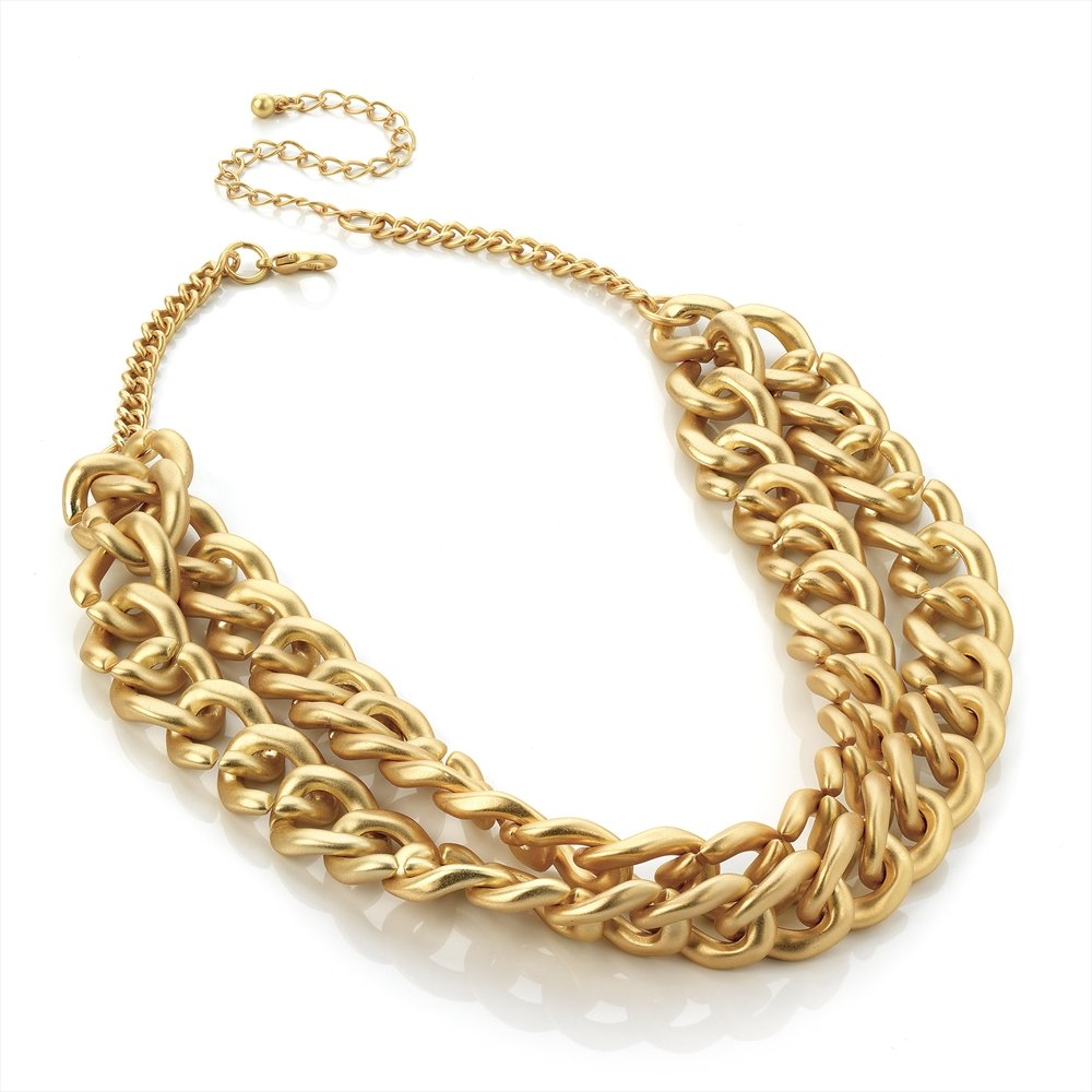 hunt or dye chunky chain matte gold necklace
