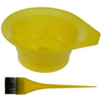 Denman - Frosted Tinting Bowl & Brush Set (Yellow)