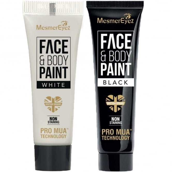 Mesmereyez Xtreme Duo Pack - 1 x White Face & Body Cream and 1 x Black Face & Body Cream 2 x 16.6ml