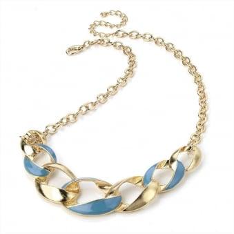 Epoxy Gold Twist Chunky Chain - Baby Blue