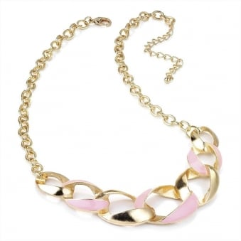 Epoxy Gold Twist Chunky Chain - Baby Pink