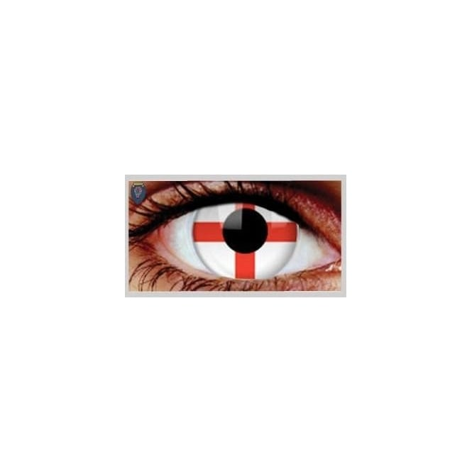 Eyecasions Brazil Football World Cup 2014 - 30 Day Wear Eye Contact Lenses - England Flag St Georges Cross (1 Pair)