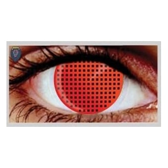 Fashion 30 Day Wear Eye Contact Lenses - Red Mesh (1 Pair)