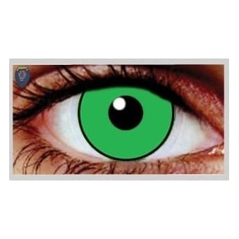 Fancy Dress Halloween Contact Lenses - Eggie Weg Green UV (Usage:1,3,12 Months - 1 Pair)
