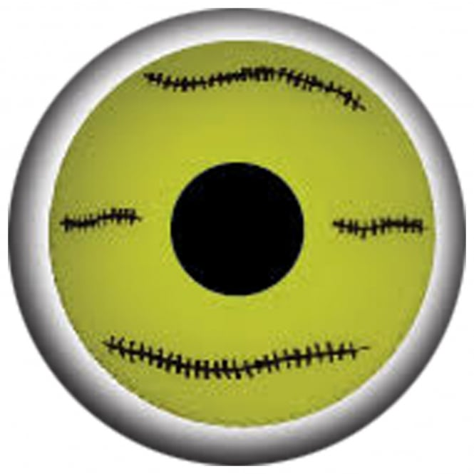 Mesmereyez Xtreme Fancy Dress Halloween Contact Lenses - Mini Yellow Stitch (Usage:1,3,12 Months - 1 Pair)