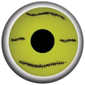 Fancy Dress Halloween Contact Lenses - Mini Yellow Stitch (Usage:1,3,12 Months - 1 Pair)