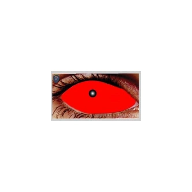 Mesmereyez Xtreme Fancy Dress Halloween Contact Lenses - Satanic Red (Covers WHOLE Eye) - (1 Pair) Solution Included