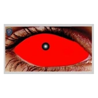 Fancy Dress Halloween Contact Lenses - Satanic Red (Covers WHOLE Eye) - (1 Pair) Solution Included