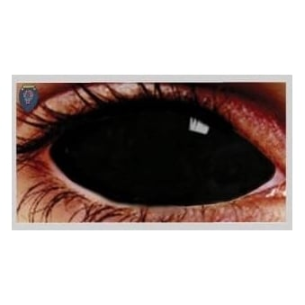 Fancy Dress Halloween Contact Lenses - Sclera Possessed black (Covers WHOLE Eye) - (1 Pair) Solution Included