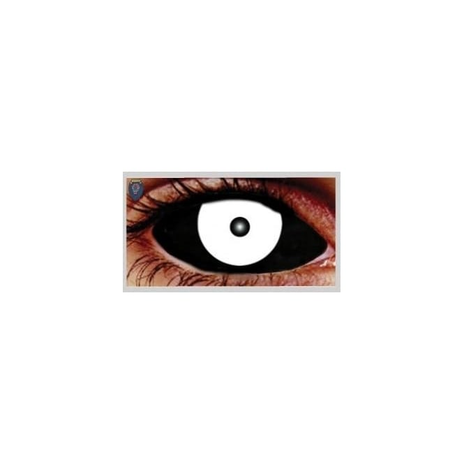Mesmereyez Xtreme Fancy Dress Halloween Contact Lenses - Sclera Sinister Black and White (Covers WHOLE Eye) - (1 Pair) Solution Included