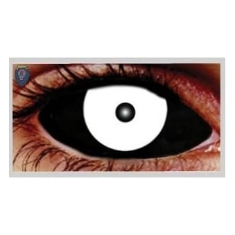 Fancy Dress Halloween Contact Lenses - Sclera Sinister Black and White (Covers WHOLE Eye) - (1 Pair) Solution Included