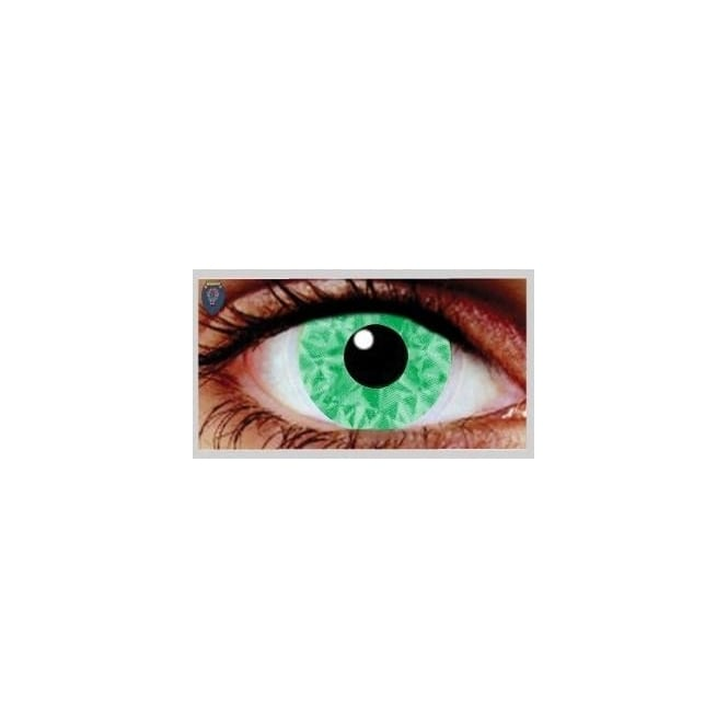 Mesmereyez Xtreme Fancy Dress Halloween Contact Lenses - Suly Green UV (Usage:1,3,12 Months - 1 Pair)