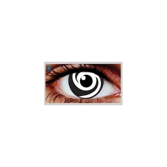 Mesmereyez Xtreme Fancy Dress Halloween Contact Lenses - White Swirl UV (Usage:1,3,12 Months - 1 Pair)