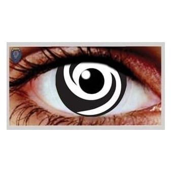 Fancy Dress Halloween Contact Lenses - White Swirl UV (Usage:1,3,12 Months - 1 Pair)