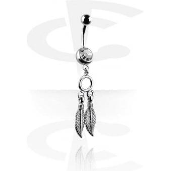 Fashion Navel Bar - Crystal Feathers