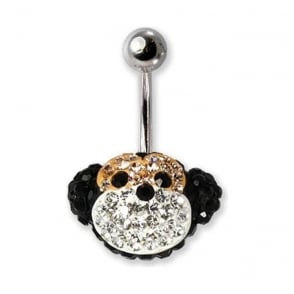 Glitter Disco Monkey Design Navel Bar