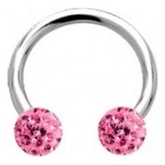 Glitzy Crystal Circular Barbells Rose