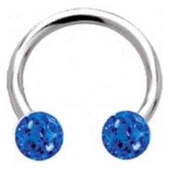 Glitzy Crystal Circular Barbells Sapphire