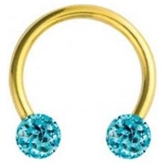 Glitzy Crystal Gold Circular Barbells Aqua