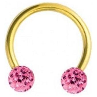 Glitzy Crystal Gold Circular Barbells Rose