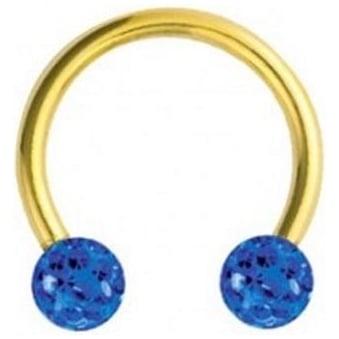 Glitzy Crystal Gold Circular Barbells Sapphire