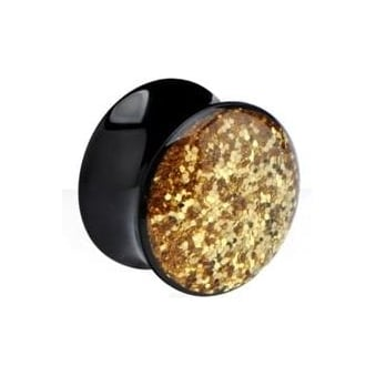 Gold Sequin Glitterine Flared Ear Plug