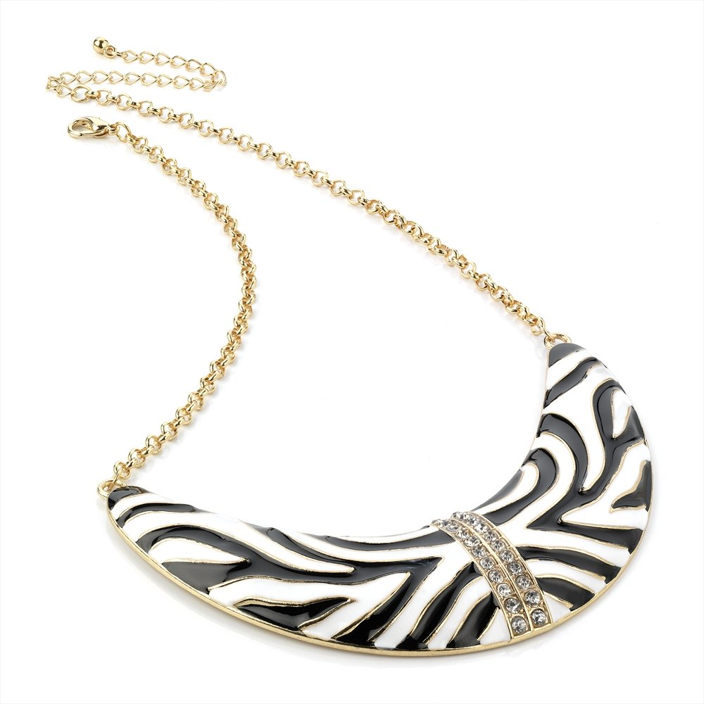 hunt or dye half moon zebra chain necklace