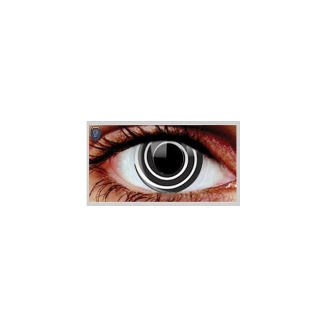 Hunt Or Dye Halloween Coloured Contact Lenses - Black Spiral (1 Day) (1 Pair)