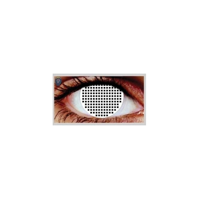 Hunt Or Dye Halloween Coloured Contact Lenses - Blind White Mesh (1 Day) (1 Pair)