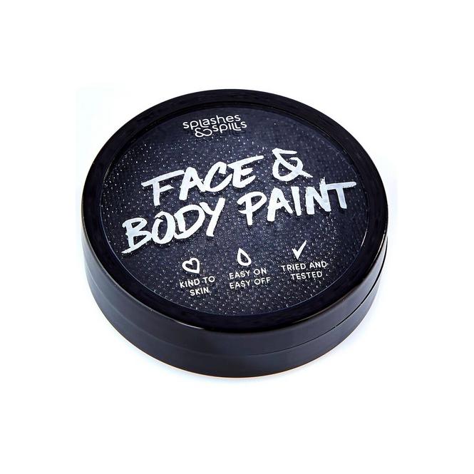 Splashes & Spills Halloween Make Up - Black Face & Body Paint Cake Tub 18g