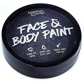 Halloween Make Up - Black Face & Body Paint Cake Tub 18g
