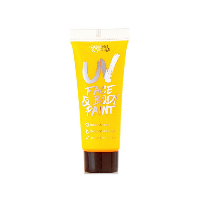 Splashes & Spills Halloween Make Up - Face & Body Paint - UV Yellow (10ml)