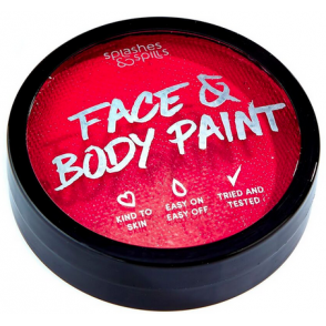 Halloween Make Up - Red Face & Body Cake Paint Tub 18g