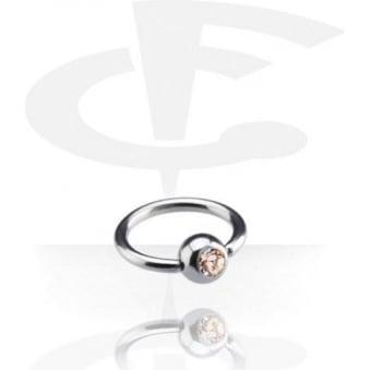 Jeweled Ball Closure Ring - Light Peach