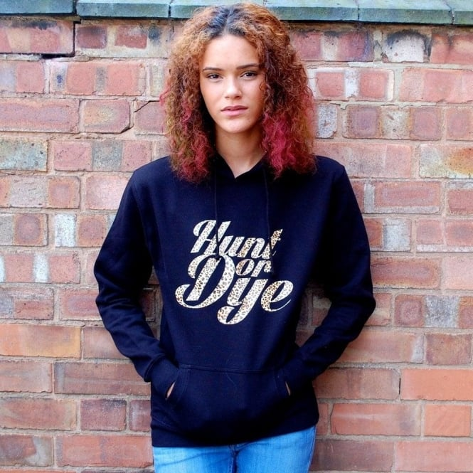 Hunt Or Dye Leopard Print Logo Hunt Or Dye Ladies Black Hoodie