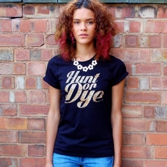 Leopard Print Logo Hunt Or Dye Ladies Black T-Shirt