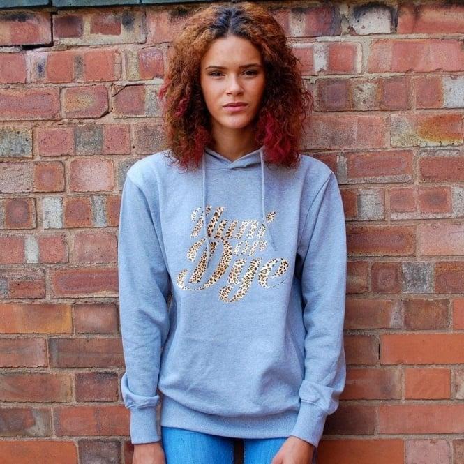 Hunt Or Dye Leopard Print Logo Hunt Or Dye Ladies Grey Hoodie