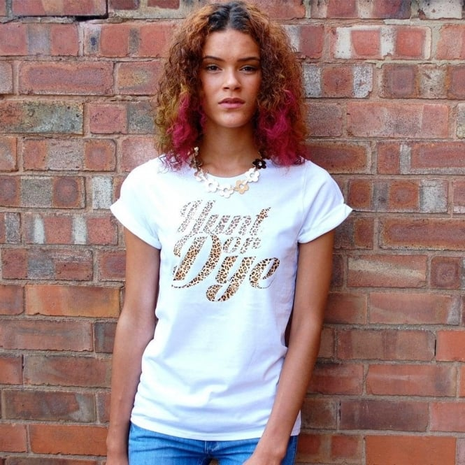 Hunt Or Dye Leopard Print Logo Hunt Or Dye Ladies White T-Shirt