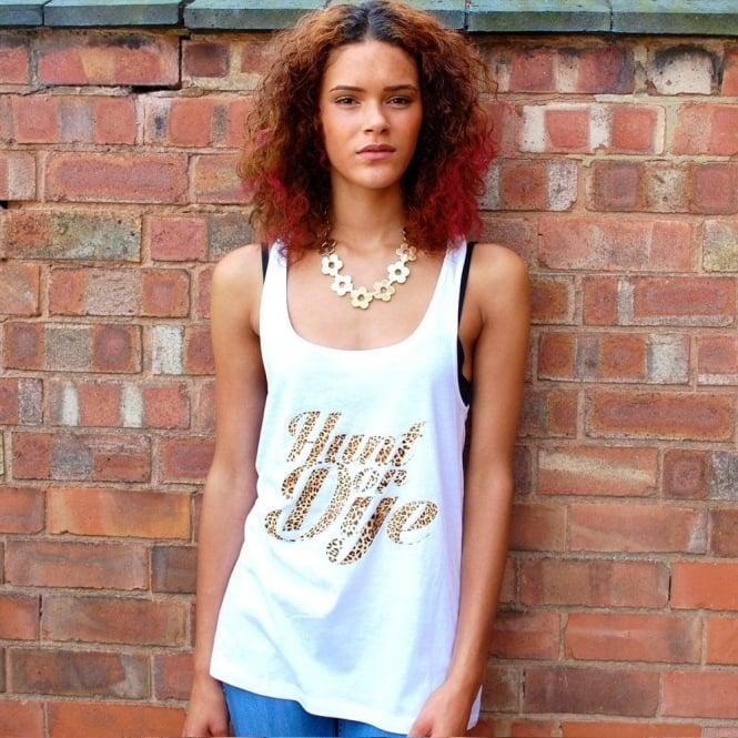 Hunt Or Dye Leopard Print Logo Hunt Or Dye Ladies White Vest