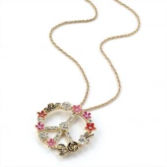 Love & Peace Hippy Drop Charm Chain