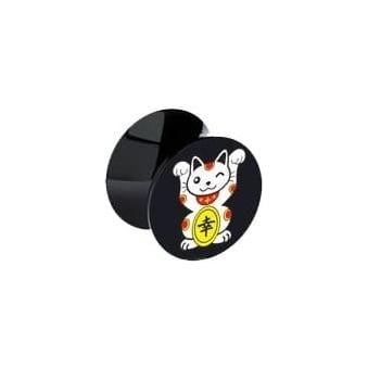 Lucky Cat Black Acrylic Ear Plug