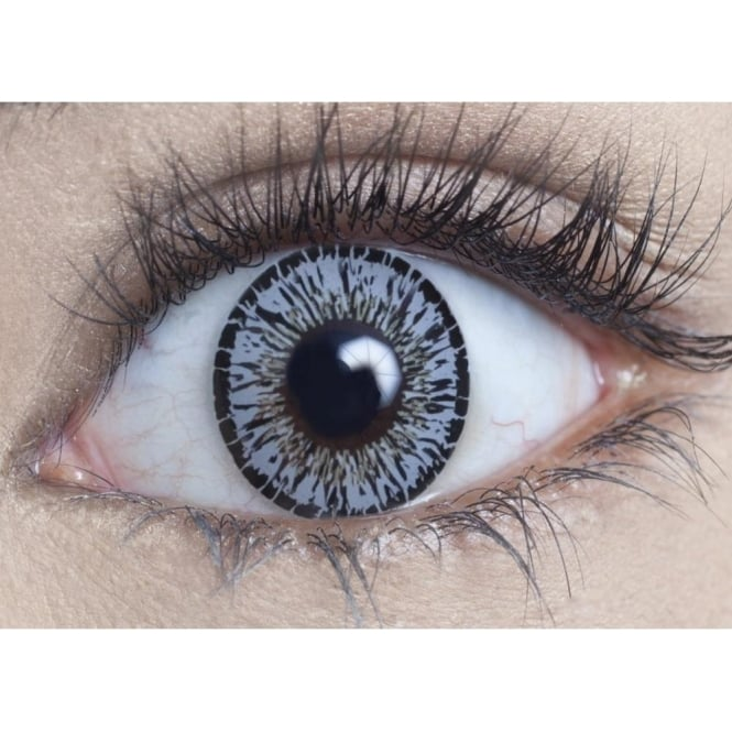 MesmerEyez Natural Coloured Contact Lenses Intense - Platinum Grey (Usage:1,3,12 Months - 1 Pair)