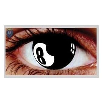 Fancy Dress Halloween Contact Lenses - 8 Ball (Usage:1,3,12 Months - 1 Pair)